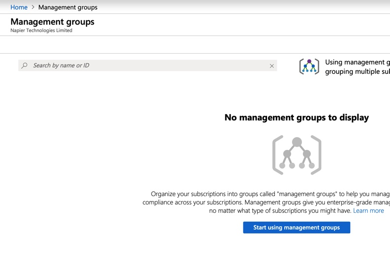 Getting started with Management Groups.